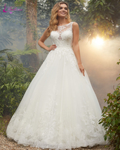 Waulizane Simple Scalloped Neckline Cap Sleeve A Line Wedding Dresses Button Clusure Gown