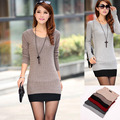 2017 Hot sale women's sweater medium long slim o-neck basic sweater new style knitted sweater 6 colors Free shipping