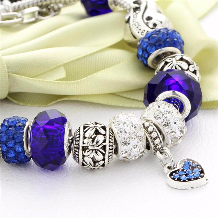 17KM Vintage Silver Color Charm Glass Bracelets For Women 17 New Crystal Heart Beads Bracelets & Bangles Pulseras DIY Jewelry 43