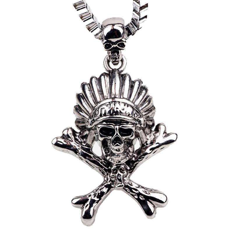 b6e4ae3702d6 Collar Vintage hombres indio Navajo jefe cráneo colgante collar de cadena  de caja nativo americano tocado