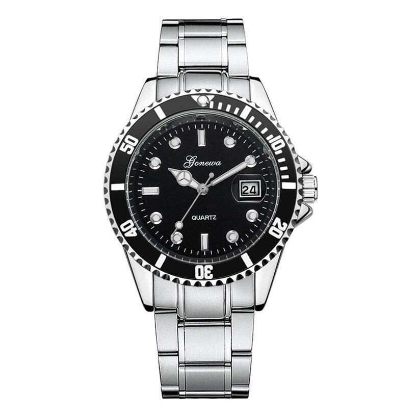 цена на GONEWA Men watch Fashion Military Stainless Steel Date Sport Quartz Analog high qulity business Wrist Watch #2009