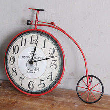 Retro American country living room bedroom creative bicycle wall clock personalized decorative  5