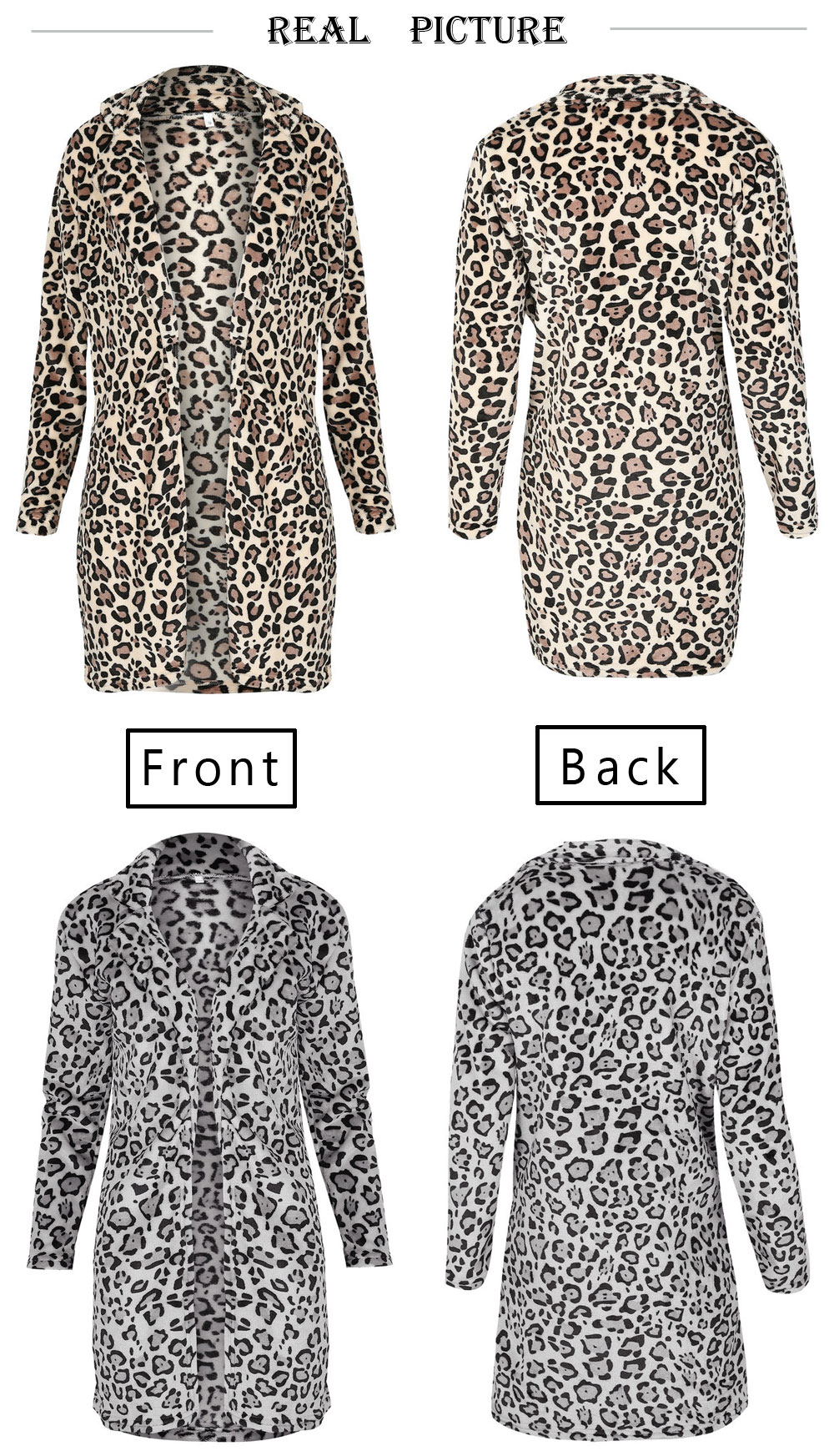 Hirigin 2018 Newest Hot Womens Winter Leopard Fluffy Fleece Jacket Coat Cardigans Hooded Jumper Tops Clubwear