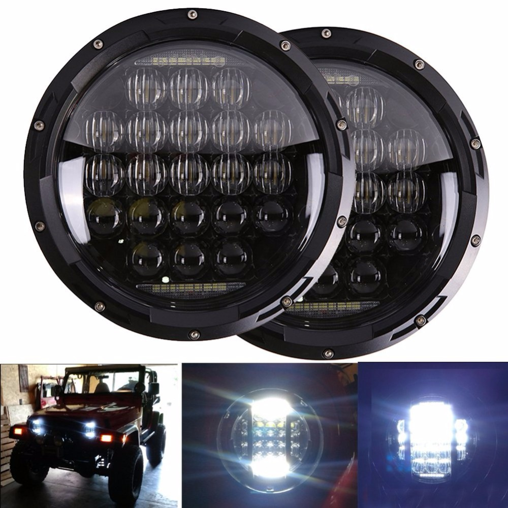 65W LED For Lada 4x4 urban Niva 7 black LED H4 headlight daymaker lamps headlamp for Jeep Wrangler JK TJ LJ Land Rover Defender 75w 5d 7 inch round led projector daymaker headlight for jeep wrangler jk land rover defender 90