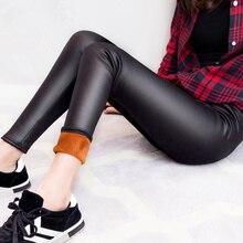 winter warm pants & capris women pu leather thick velvet stretch slim pencil pants elasitc trousers  cp2a