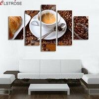 CLSTROSE 5 Pièce Tasse de Café Toile Peinture Image Sur Le mur Pour La Cuisine Alimentaire Décoration de La Maison Dans Le Prix Pas Cher sans cadre