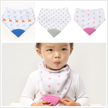 Lion Bear 3-18 Months Baby Bib Triangle Cotton Scarf Soft Silicone Promoting Children's Teeth Burp Cloth For babies star print
