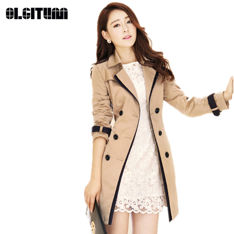 Women 2018 Fashion   Trench   Coat Turn-down Collar Plus Size S-3XL Outwear   Trench   Double Breasted Contrast Color Long Coats TR060
