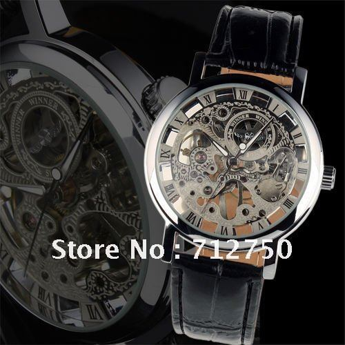 Free Shipping!2013 Promotion  Winner brand Mens Black Skeleton Hand Wind Mechanical Watch Wrist Watch for Men Relogio Luxury
