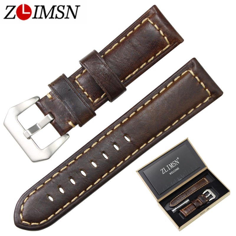 ZLIMSN Men Genuine Leather Watch Band Light Brown Watchband Suitable for Panerai Replacement Belt 20 24mm Stainless Steel Buckle цена
