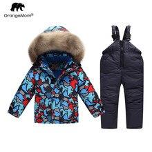 Liquidação orangemom russo inverno terno blusão crianças neve usar casaco quente para meninos parkas crianças roupas de esqui