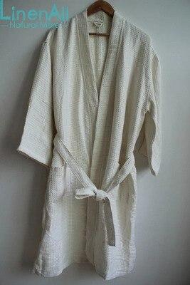 LinenAll женская одежда сна, 100% чистого белья стиральная классический вафельный халат толстые соты льняной ткани халат