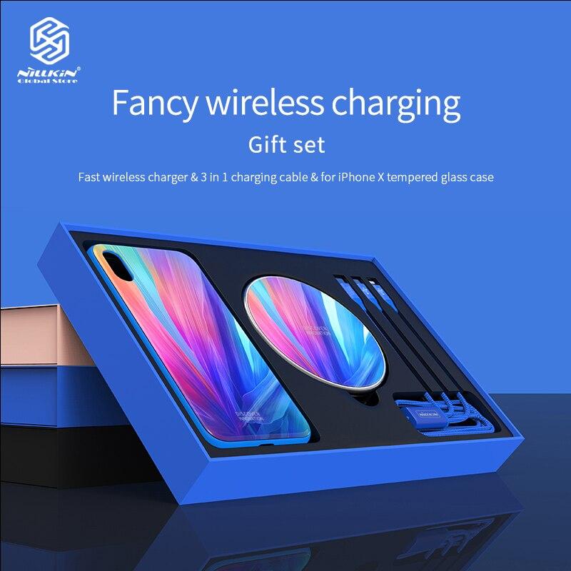 Nillkin 3 en 1 10 W chargeur sans fil rapide Pad pour IPhone X coque de téléphone en verre trempé couvercle avec données USB câble type-c charge