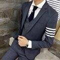 Мужская leisure suit Новый президент приток мужчин ударил цвет полосы куртка Личность мужчины повседневная бизнес платье костюм