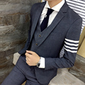 Men's leisure suit New president of the influx of men hit color stripe jacket Personality male casual business dress suit