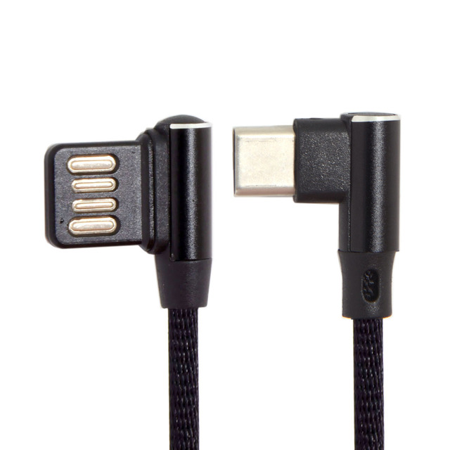 USB Micro & Type C to Left Right Angled 90 Degree USB 2.0 Data Cable with Sleeve for Tablet & Phone 15cm