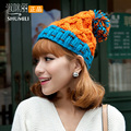 New 2017 hat female autumn and winter fashion color block hair balls knitted hat ear cap knitted hat