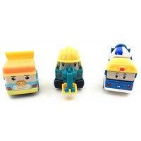 3Pcs Set Children Gifts Anime Figure Robocar Poli Robot Car Toys Korea Toys Metal Model Car