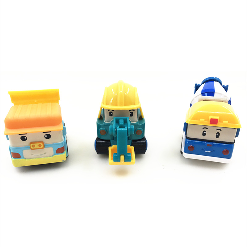 3Pcs/Set Children Gifts Anime Figure Robocar Poli Robot Car Toys Korea Toys Metal Model Car Kids Toys