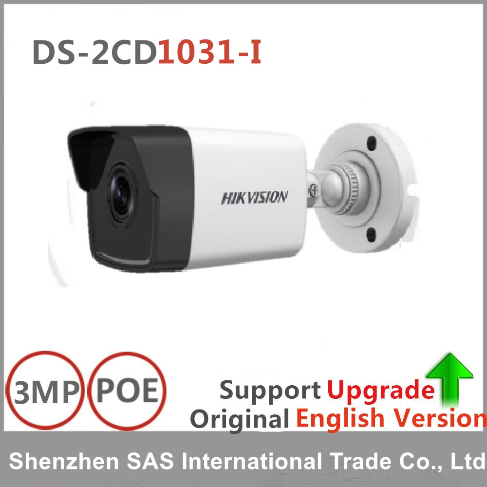 Hikvision English version DS-2CD1031-I 3MP MINI bullet CCTV camera POE replace DS-2CD2032F-I DS-2CD2035F-I IP security Camera original hikvision 1080p waterproof bullet ip camera ds 2cd1021 i camera 2 megapixel cmos cctv ip security camera poe outdoor