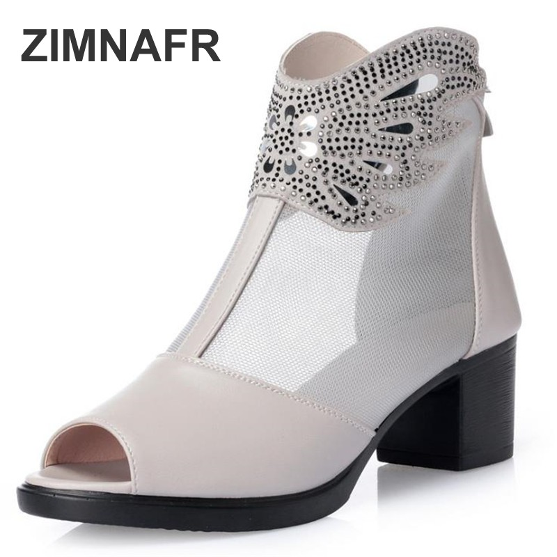 ZIMNAFR BRAND WOMEN SANDALS GENUINE LEATHER FISH MOUTH SUMMER BOOTS MESH BREATHABLE HOLLOW WOMEN SANDALS PLUS SIZE 35-43 2018 new summer women genuine leather sandals fish mouth high heeled waterproof platform mesh hollow fashion sandals shoes women