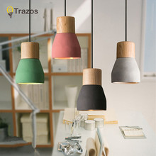 American Country Style cement Pendant Light 120cm wire E27 / E26 Socket Droplight 4 colors wood indoor Decoration Hanging Lamp(China)
