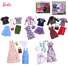 Original Barbie Mix Dolls Clothes dress Bag High-heeled Shoes Necklace Clothing Change Set Toys For Girls fashion Accessories