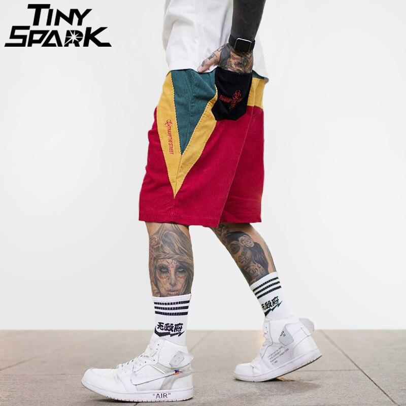 Hip Hop Baggy Short Color Patchwork Pockets Cargo Short Mens Casual Corduroy Shorts Harajuku Skateboard Streetwear 2018 Summer