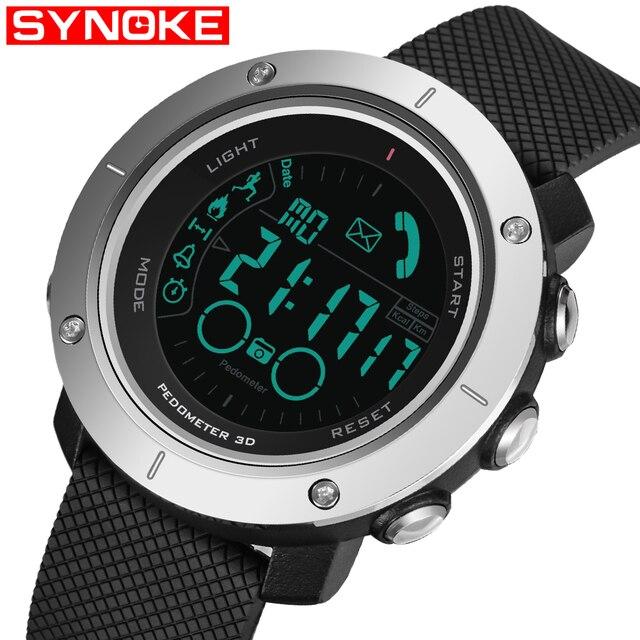 Bluetooth Интеллектуальный смотреть Для мужчин светодиодный цифровой Военные часы 50 м погружения Плавание многофункциональные спортивные Smart Наручные часы для IOS Android
