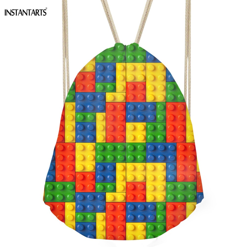 INSTANTARTS Colorful Tetris Drawstring Bag Fashion Super Light String Backpack Women Man Small Cinch Sack Travel
