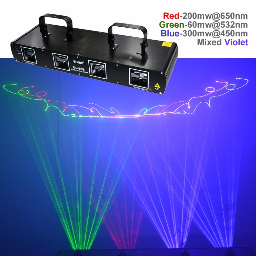 SHINP 4 Lins 7CH DMX RGBP Laser DPSS Beam Scanner Lighting PRO Christmas DJ Party Show Ray Projector Stage System Lights DL55B