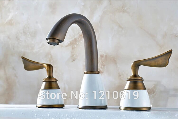 цены  US Free Shipping Wholesale And Retail Modern Deck Mounted Antique Brass Bathroom Basin Sink Faucet Mixer Faucet Tap Dual Handle