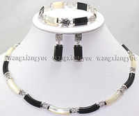 Black White Natural stone Link Necklace Bracelet earrings Set AAA . watch Quartz stone crystal FREE SHIPPING