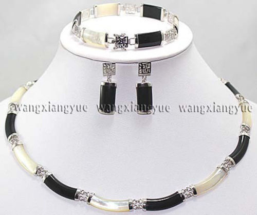 Black White Natural stone Link Necklace Bracelet earrings Set AAA . watch Quartz stone crystal FREE SHIPPING цена и фото