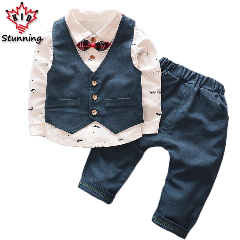 18M-5T Baby Boys Clothing Sets Vest+Shirt+Pants 3Pcs 2017 Long Sleeve Boys Clothes Suit Elegant Kids Clothes for Boys blue gentleman boys clothes 3pcs set long sleeve shirt vest pants new style baby boy clothes