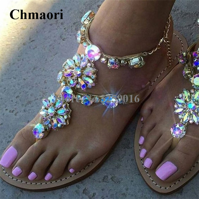 Summer Hot Selling Women Luxury Bling Bling Rhinestone Flat Sandals Beaded Crystal Clip Toe Bohemia Beach Sandals