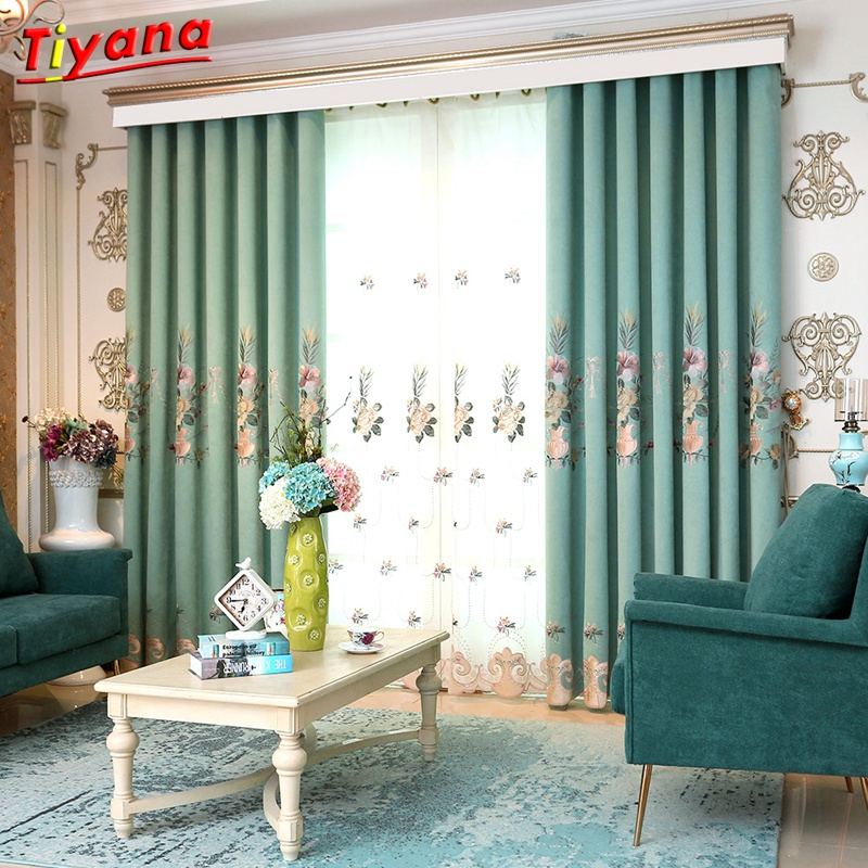 Huayin Velvet Linen Curtains Tulle Window Curtain For: Modern Velvet Curtains Window Treatments Blue Embroidery