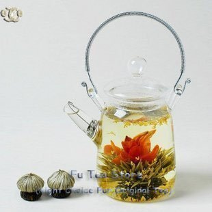 Metal Handle Clear Glass Teapot heat-resistant handmade blooming tea tea pot, <font><b>broken</b></font> resend tea set