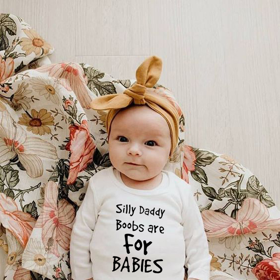 Infant Silly Daddy Boobs Letter Print Long Sleeve Jumpsuit Autumn Baby Romper Newborn Toddler Cotton Boy Girl Clothes Costume