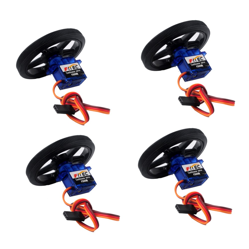 4Pcs Feetech FS90R RC Servo, 360 Degree Continuous Rotation Micro Servo Motor +4Pcs Wheel Tire For Robot RC Car Drones Smart Car