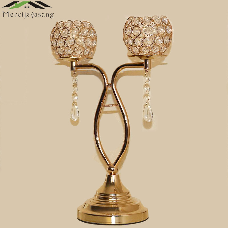 10PCS/LOT Candle Holders With Crystals Gold 43CMx28CM Stand Pillar Candlestick For Wedding Decoration Portavelas Candelabra10PCS/LOT Candle Holders With Crystals Gold 43CMx28CM Stand Pillar Candlestick For Wedding Decoration Portavelas Candelabra