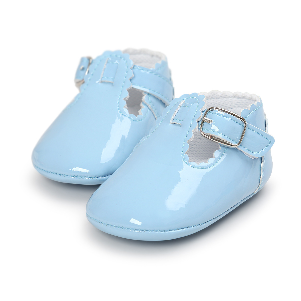 Newborn Sky Blue Baby Shoes Bright PU Leather Baby Toddler Girl Shoes Baby Infant Moccasins Shoes First Walker