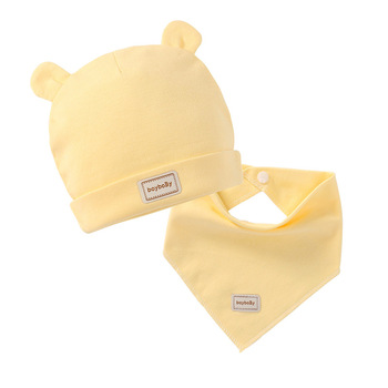3 color eslatic headscarf double layer cotton baby caps&hats with baby bibs set pink yellow and sky blue for newborn infant