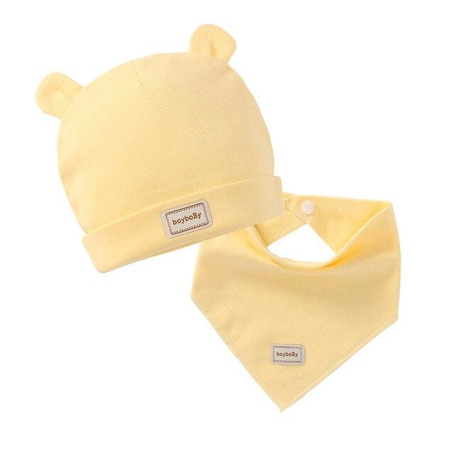 3 cor eslatic véu dupla camada de algodão do bebê caps & chapéus com babadores para bebês definir amarelo rosa e azul do céu para o bebê recém-nascido