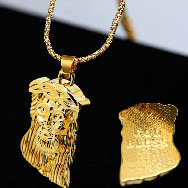 JesusHead Vàng Mặt Dây Chuyền Vòng Cổ Hip Hop Supreme Thanh Gạch Jewelry Dài Mặt Dây Chuyền Dây Chuyền Vàng Chain Unisex Hipster Giáng Sinh