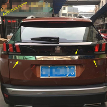High Quality ! For Peugeot 3008 3008GT 2017 Rear Trunk Lid Cover Tailgate Trim Hatch Back Door Handle Molding Boot Garnish car stainless steel rear door license tailgate bumper frame plate trim lamp trunk 1pcs for peugeot 3008 gt 3008gt 2016 2017 2018