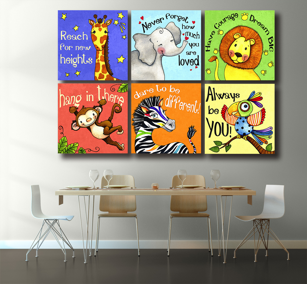 Wxkoil Artwork Canvas Portray Oil Portray 6 Pcs/set Trendy Cartoon Animals Wall Photos Wall Deco Wall Stickers For Youngsters Rooms