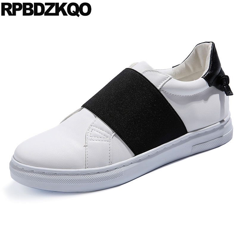 Black And White Elevator Designer Shoes China Ladies Rubber Sole Women Flats Sneakers Spring Autumn Walking Slip On Round Toe