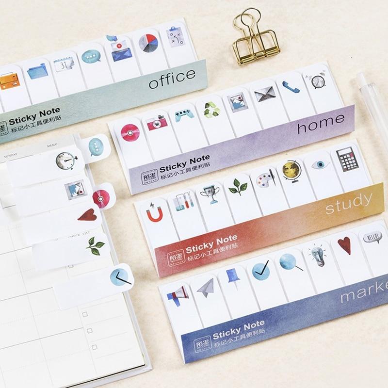 JUKUAI 4 Pcs Marker Sticky Note Post It Tag Widget Mini Memo Sticker Diary Planner Scrapbooking Stationery School Supplies 7316