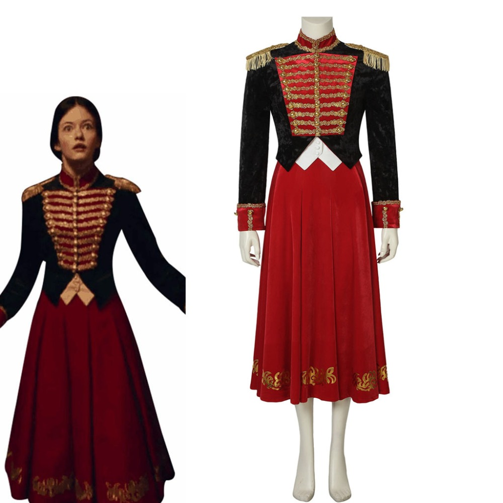 Cosplaydiy The Nutcracker And The Four Realms Clara Cosplay Top Skirt Costume Princess Red Officer Soldier Suit Any Size L320